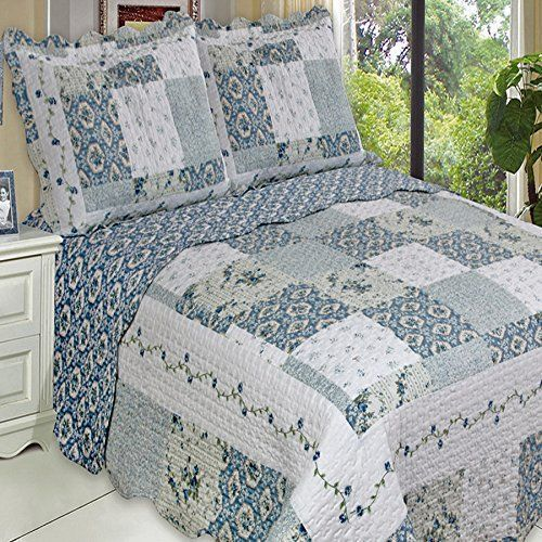 Country Cottage Blue Floral Patchwork Quilt Coverlet and Shams Set.  Rustic bedding