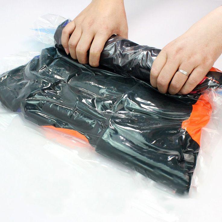 1 개 진공 압축 가방 투명 여행 파우치 씰 가방 공간 보호기 압축 주최자 수동으로 압축 진공 가방