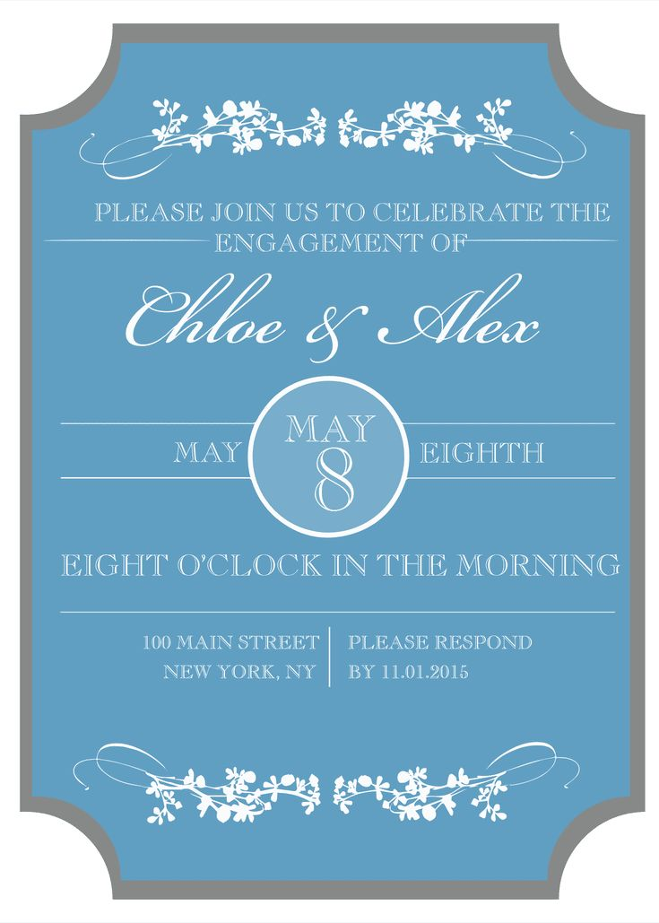Send a Free, Printable Engagement Party Invitation: Sophisticated Engagement Party Invitation Template from Wedding Chicks