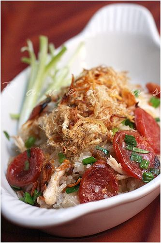 Xoi Man • Sticky Rice with Chinese Sausage, Chicken, and Shrimp, topped with Shredded Pork • Vietnamese food