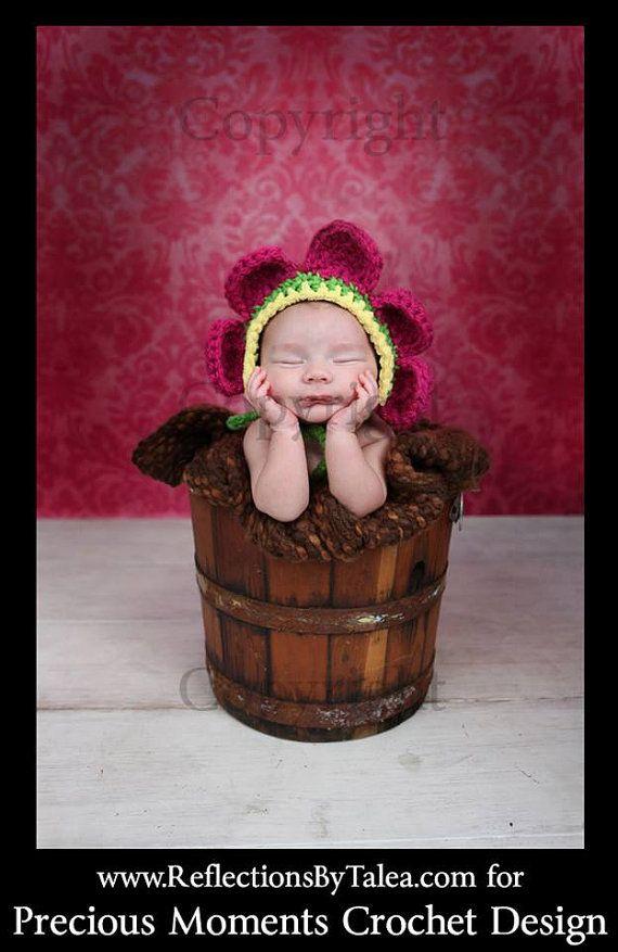 Newborn Flower Bonnet, Baby Flower Bonnet by PreciousMomentsProps, $25.00