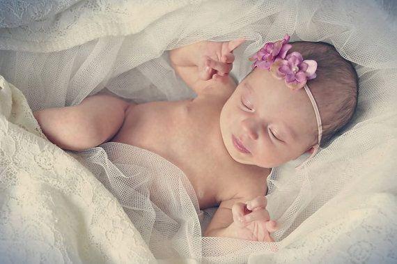 Baby Girl Headband - Baby Headband - Pink  Flower Headband - Vintage Baby Headband - Flower Girl Headband