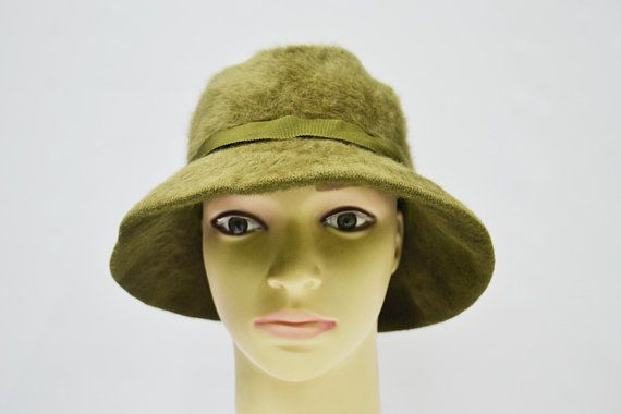 6a64be4ddd7 Kangol Hat Kangol Cloche Hat Vintage Kangol Furgora Angora Blend Bucket  Cloche Hat Kangol Vintage Green Hat Made in England
