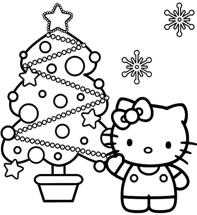 Hello Kitty With Christmas Tree Coloring Pages