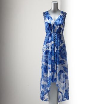 Might work for a summer wedding? Simply Vera Vera Wang Floral Pleated Hi-Low Hem Maxi Dress