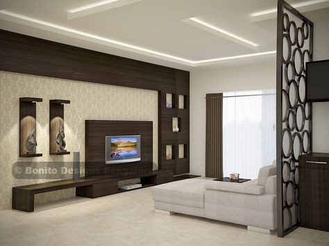 Be amazed to see this sleek, modular, end-to-end spacious TV unit and the designer CNC'ed partition brings life to the entire room. #designerTVunit #modular #furniture #TVunit #sleekTVunit www.bonito.in #bonitodesigns