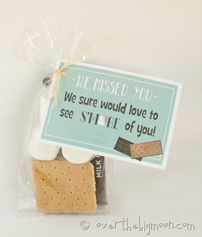 """For idea for people who you have missed, """"We missed you. We would love to see more of you"""" Free printable"""
