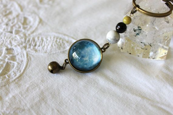 Key Ring  Bag Clip with Blue Moon Glass by ALavenderBells on Etsy