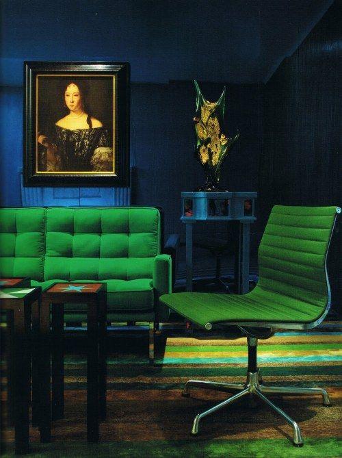 sapphire walls + emerald green furniture