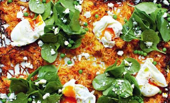 Jamie+Oliver+giant+veg+rosti+with+poached+eggs,+spinach+and+peas+recipe+on+Jamie+Money+Saving+Meals