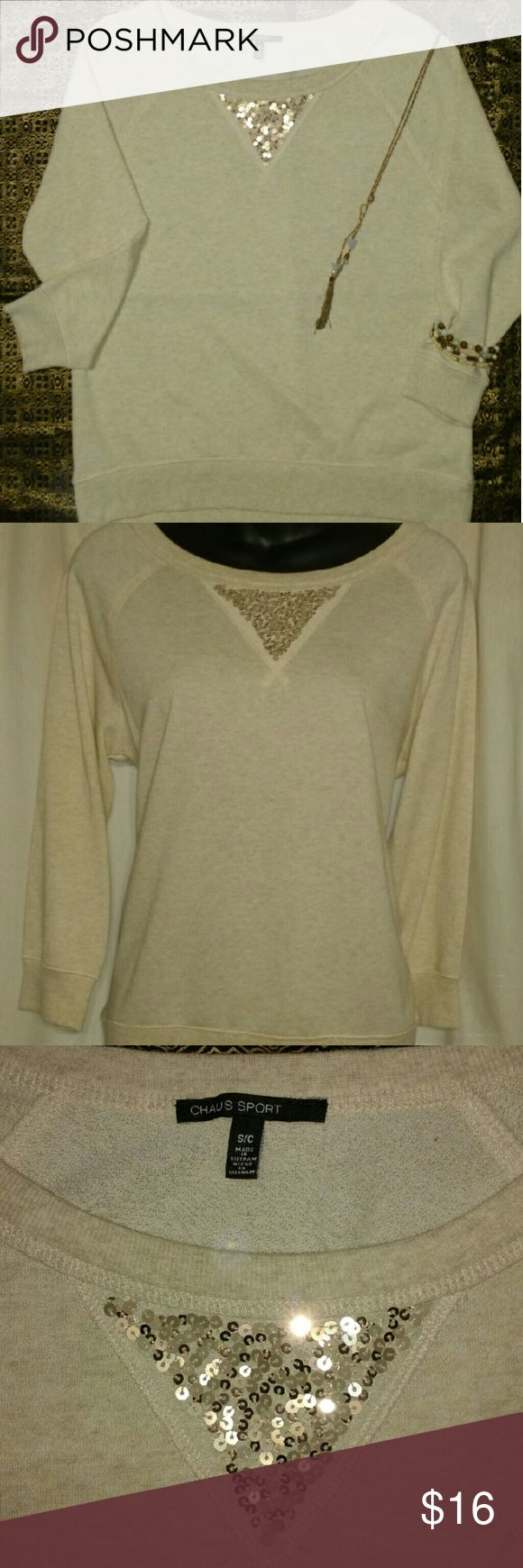 """*NWOT* Cream Golden Top *Cream Long Sleeve Top  *Triangular Shape with Gold Sequins   *Bateau Neckline   *Length 22""""     *Chest 19""""     *Sleeves 21""""  *Women's Size Small         *True to Size  *No Rips      *No Discoloration      *No Stains  *TRADE ALSO* Chaus Sport Tops Sweatshirts & Hoodies"""