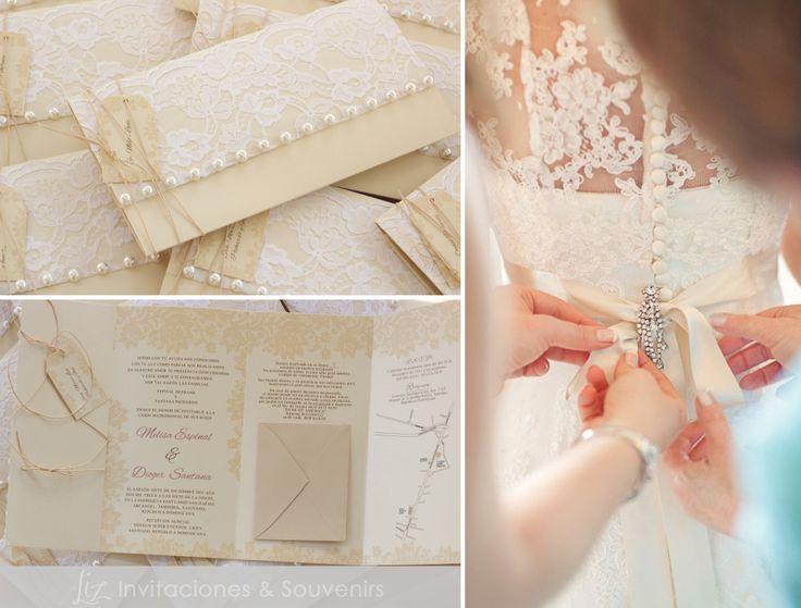 """Nos inspiramos en el vestido de la novia para el diseño de esta invitación: """"Vintage Romance"""". Bodas Melisa y Dioger, en tonos ivory, beige y blanco. Encaje y botones perlados. :-) by Liz Invitaciones - Tarjetería y Souvenirs"""