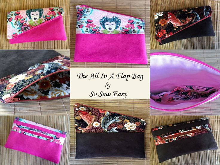 """I tested The All In A Flap Bag pattern by Deby at So Sew Easy.  The pink one is Tula Pink """"Elizabeth"""" with upholstery weight suede.  The brown one is Hi-Fashion fabrics, also with upholstery weight suede.  Tested by me, The Pattern Tester - www.thepatterntester.com."""