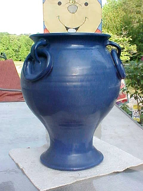Large Jb Cole Nc Pottery Dark Blue 3 Ring Handle Floor