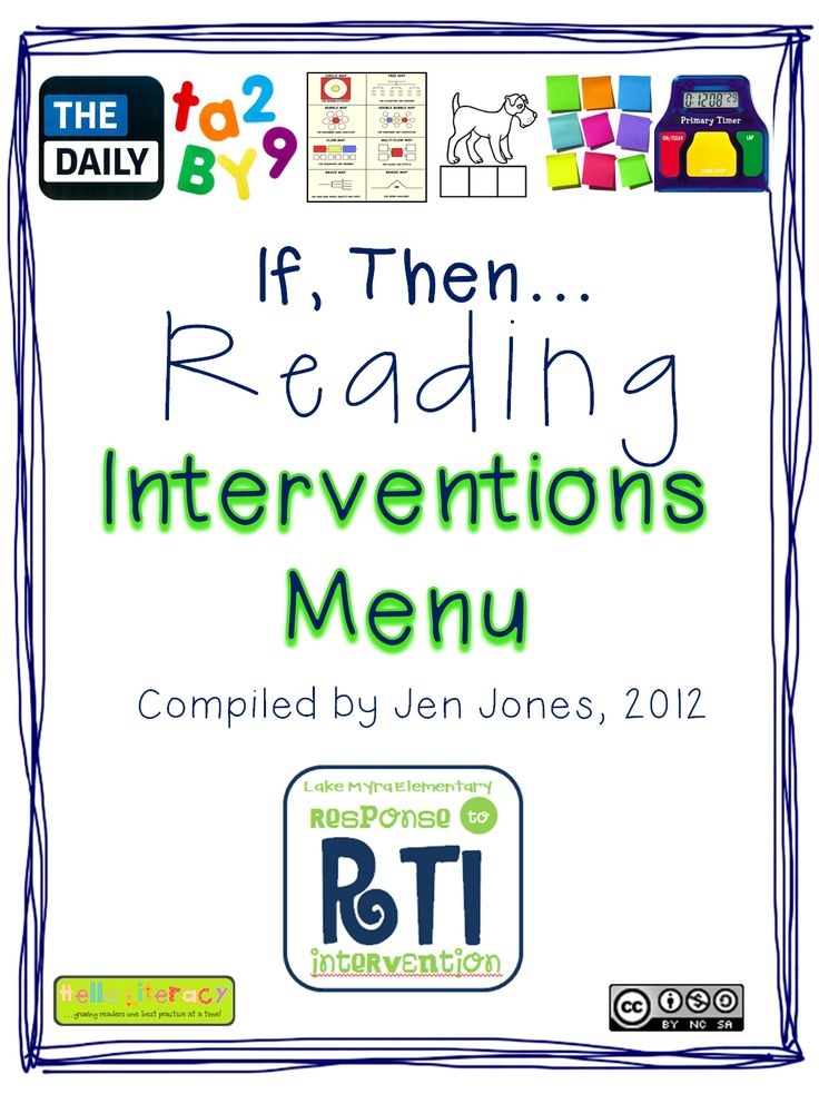"""""""if a child struggles with ___, then....."""" :: Hello Literacy: RTI: """"If, Then"""" Reading Interventions Menu # Pin++ for Pinterest #"""
