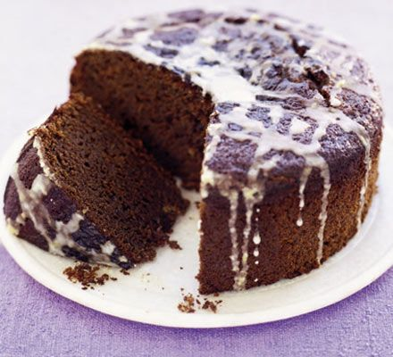 Sticky stem ginger cake with lemon icing - one of the comments says to put the icing on straight from the oven then put it back in the oven for 2-3 mins to get crispy icing! Also slather the cake in it rather than drizzle... both interesting ideas!