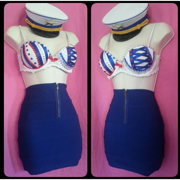 FREE SHIPPING Custom Sailor Costume/ custom bra found on Polyvore featuring polyvore, women's fashion, clothing, costumes, rave, blue halloween costumes, blue costumes, sailor costume and sailor halloween costume