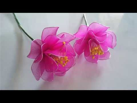 Tập 3: Làm HOA LY bằng vải voan - How to make LILY stocking flower - YouTube