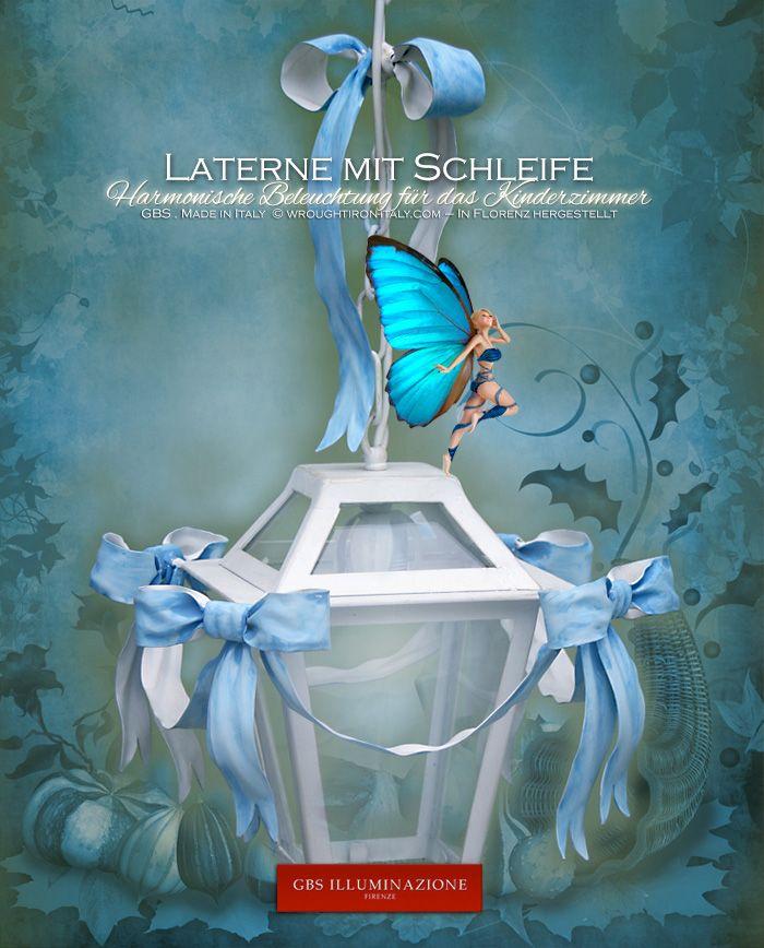 Laterne mit himmelblauer Schleife | GBS Illuminazione – Ferro Battuto – Wrought Iron – GBS Arte e Colore