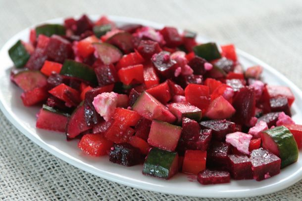 Roast Beet, Feta, Cucumber and Bell Pepper Salad from A Sweet and ...
