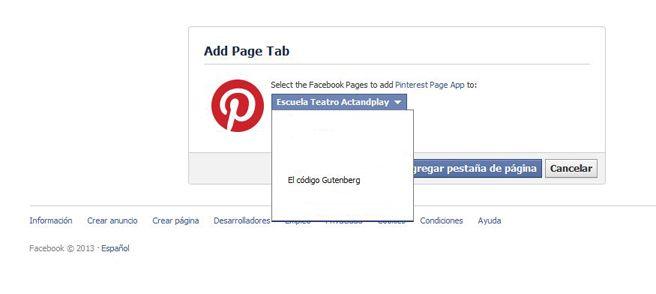 Añadir Pinterest a página de Facebook