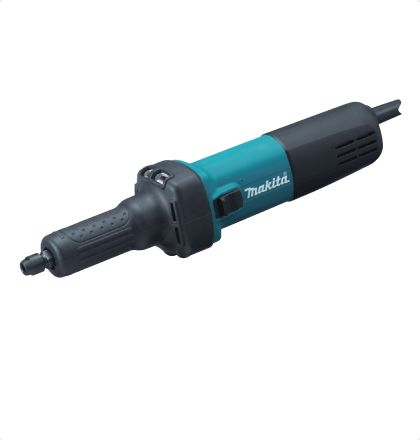 Makita GD0601 Die Grinder     Small-circumference housing for easy handling.     Anti-slip rubber cover for easy handling.     Round-shaped collet nut reduces the possibility of damages/ scratches to workpiece.     Switch lever conveniently located for one hand operation.     Vent slots designed to direct the exhaust air stream towards the opposite side of the operator.     High heat resistance. For More Details: http://www.mrthomas.in/makita-gd0601-die-grinder_47