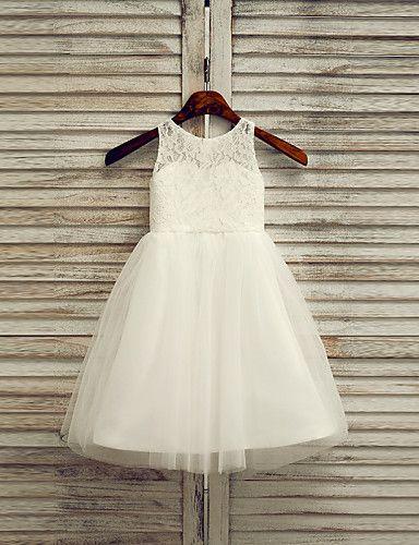 A-linje Ankel-lengde Blomst jente kjole - Blonde/Tyll Ermeløs 2016 – kr.482