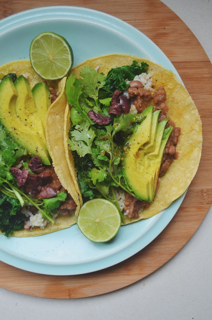 TACO TUESDAY // RECIPE FOR SPICY VEGAN REFRIED BEANS, CILANTRO LIME BROWN RICE + CREAMY MISO-GINGER DRESSING