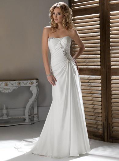 Chic Sleeveless A-line Floor-length bridal gowns $351.00: Dresses Wedding, Wedding Dressses, Idea, Chiffon Wedding Dresses, Strapless Wedding Dresses, Weddings, Gowns, Dreams Dresses, Beaches Wedding Dresses