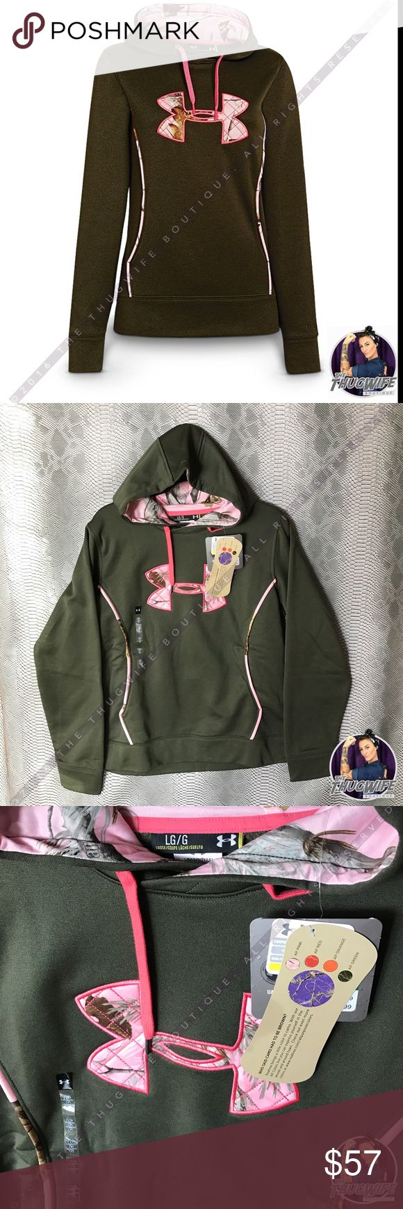 Under Armour pink real tree Camo lined hoodie NEW Under Armour Camo real tree  hoodie    NEW WITH TAGS  ( have many sizes not one in photo )  Authentic under Armour pull over hoodie . Forest green with pink Camo lining .  Waterproof great for layering sking snowboarding .     Use the OFFER BUTTON • bundle for 10% off        please no drama ladies lets be nice     • 5 star rating • over 300 sales • smoke free home • 100% authentic • packedtokill •         || www.thethugwife.com…
