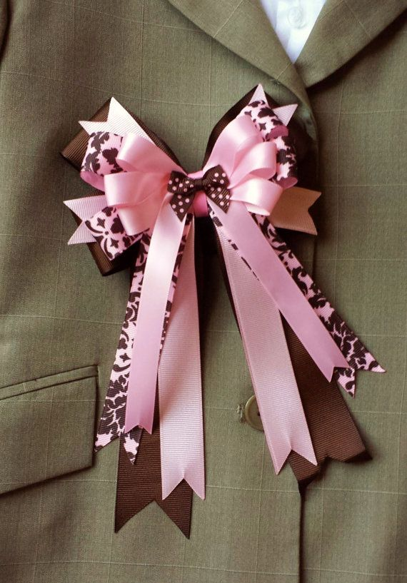 Pair of Horse Show Bows w/ Tails  Pink and by ShortStirrupBling, $24.00