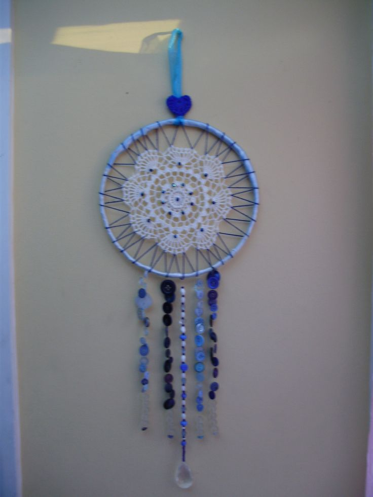 Dreamcatcher using doiley, beads, buttons and the wire circle from inside the hub cap of a car.