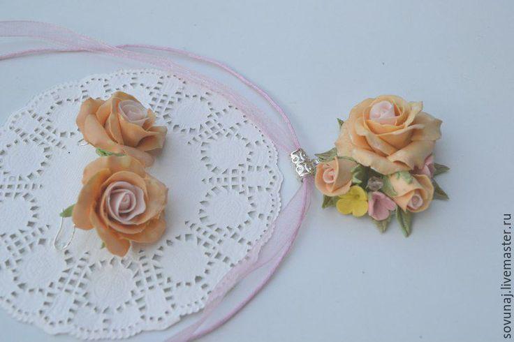 Купить Кулон и серьги с нежными розами. Кремовые розы. - кремовый, розы ручной…