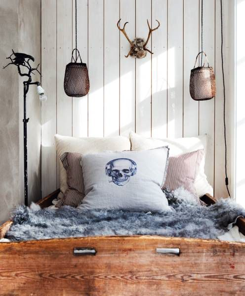 weekend cabin : norway: Cabin, Boys Rooms, Interiors Design, Skull Rooms, Skull Pillows, Beds Frames, House, Bedrooms Inspiration, Bedrooms Ideas