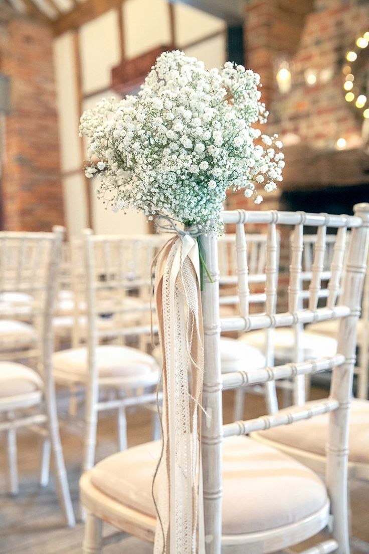 Gypsophila Chair Decor | Lainston House Barn Venue | Rustic Vintage Wedding | McKenzie Brown Photography | http://www.rockmywedding.co.uk/sarah-nathan/