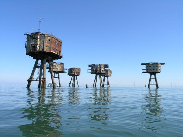 Maunsell abandoned Army Sea Forts, Red Sands Shivering Sands, Thames estuary, UK - Artificial Owl