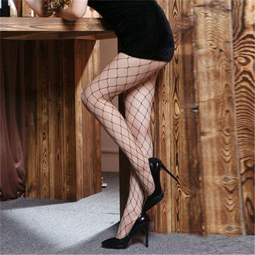 Women Sexy Anti-hook Fishnet Tights Mesh Black Stockings Hollow Out Pantyhose Hosiery at Banggood