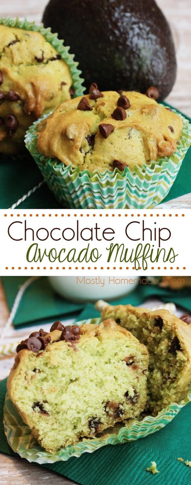 Chocolate Chip Avocado Muffins - These sweet muffins are the perfect way to use up ripe avocado in your kitchen! The miniature chocolate chips give these muffins a special touch for breakfast as well. AlwaysInSeason AD