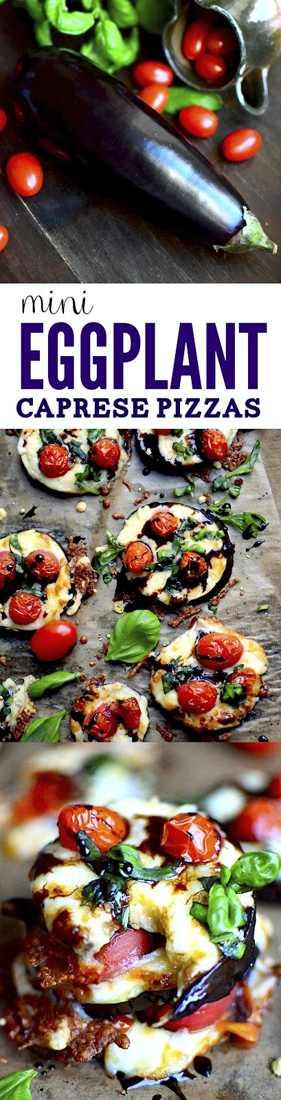 These little eggplant pizzas are perfect for lowcarb, gluten free, or otherwise healthy eaters. They're loaded with mozzarella, fresh basil, bursty tomatoes, and a delicious balsmaic reduction!