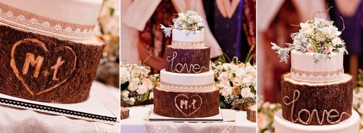 wedding cake on rustic wedding reception