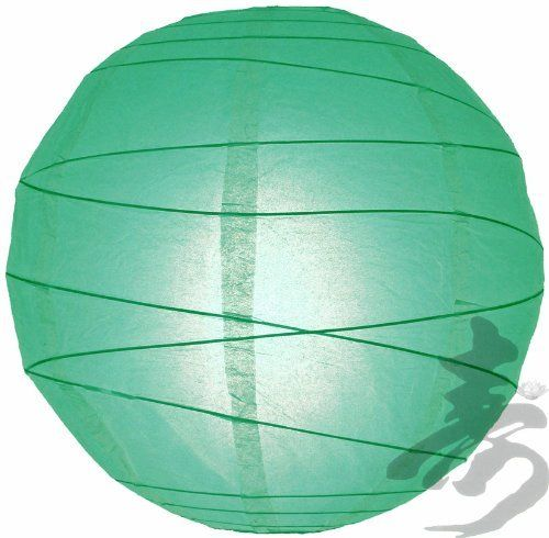 """24"""" Teal Irregular Ribbed Paper Lantern by Asian Import Store, Inc.. $6.50. Round paper lantern with a irregular wire ribbing. Lantern is held open with a wire expander.  Dimensions: 24"""" dia  (All lanterns sold without lighting, lighting options must be purchased separately)"""