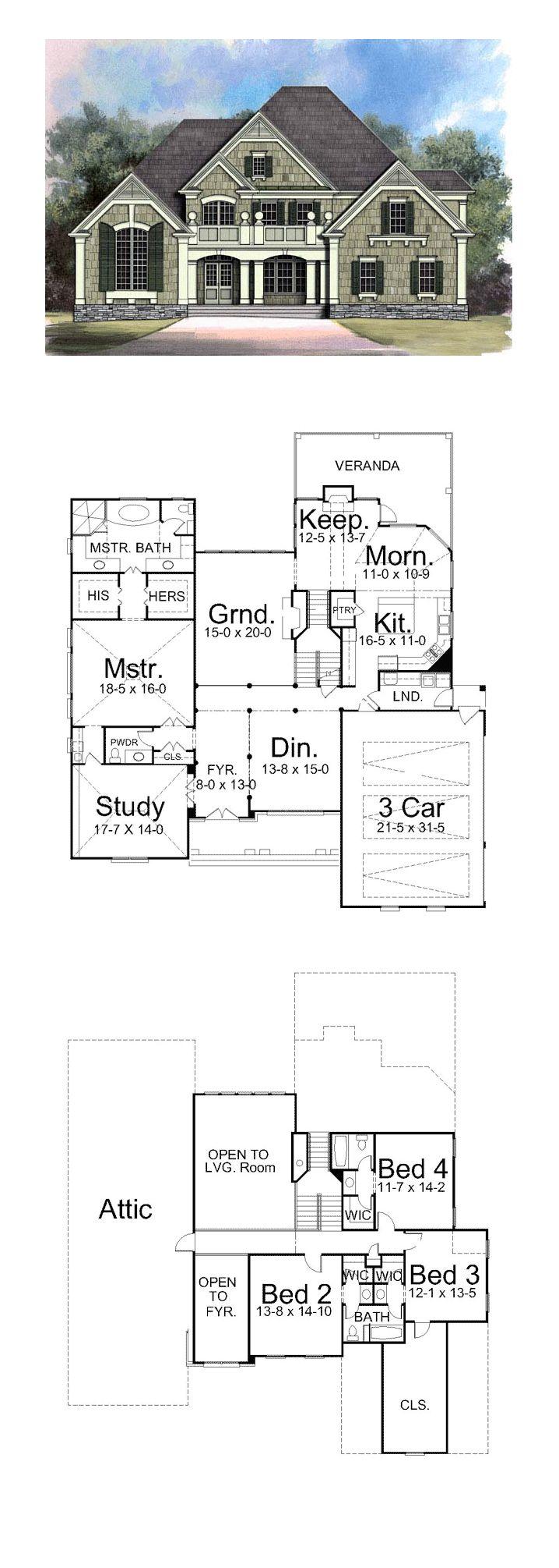Greek Revival House Plan 72017   Total Living Area: 3363 SQ FT, 4 bedrooms and 4 bathrooms. #greekrevivalhome