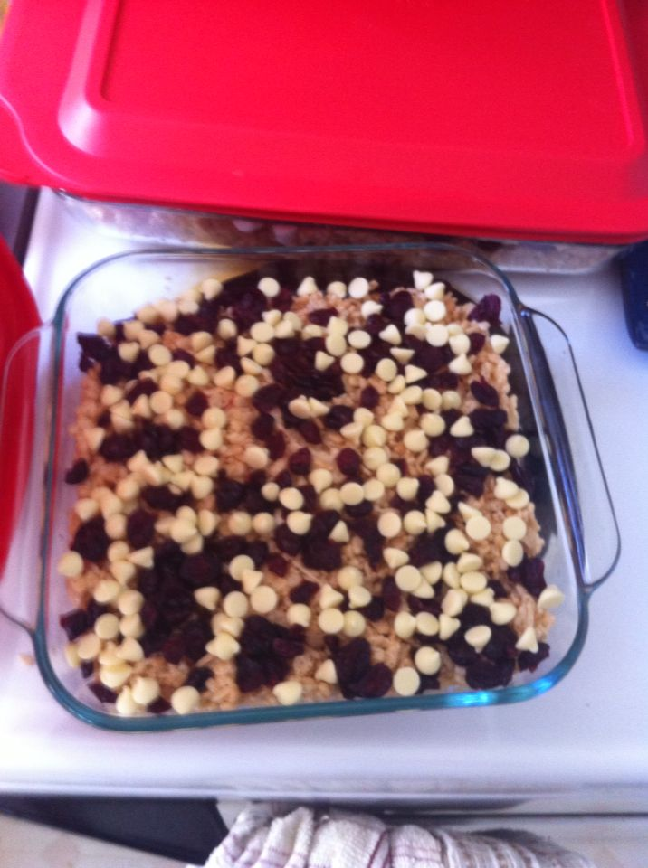 Managerial rice krispies. White chocolate + craisins