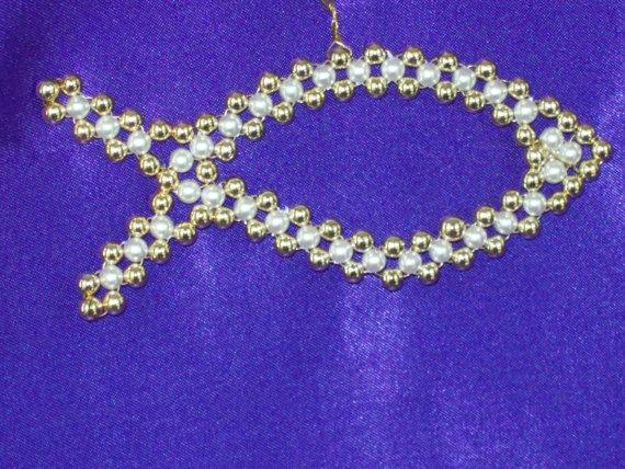 Fish Chrismon-style Ornament Bead Kit-Heirloom Quality Beads. $6.00, via Etsy.