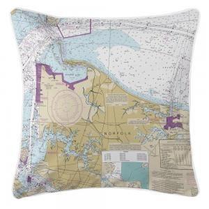 VA: Norfolk, VA Nautical Chart Pillow
