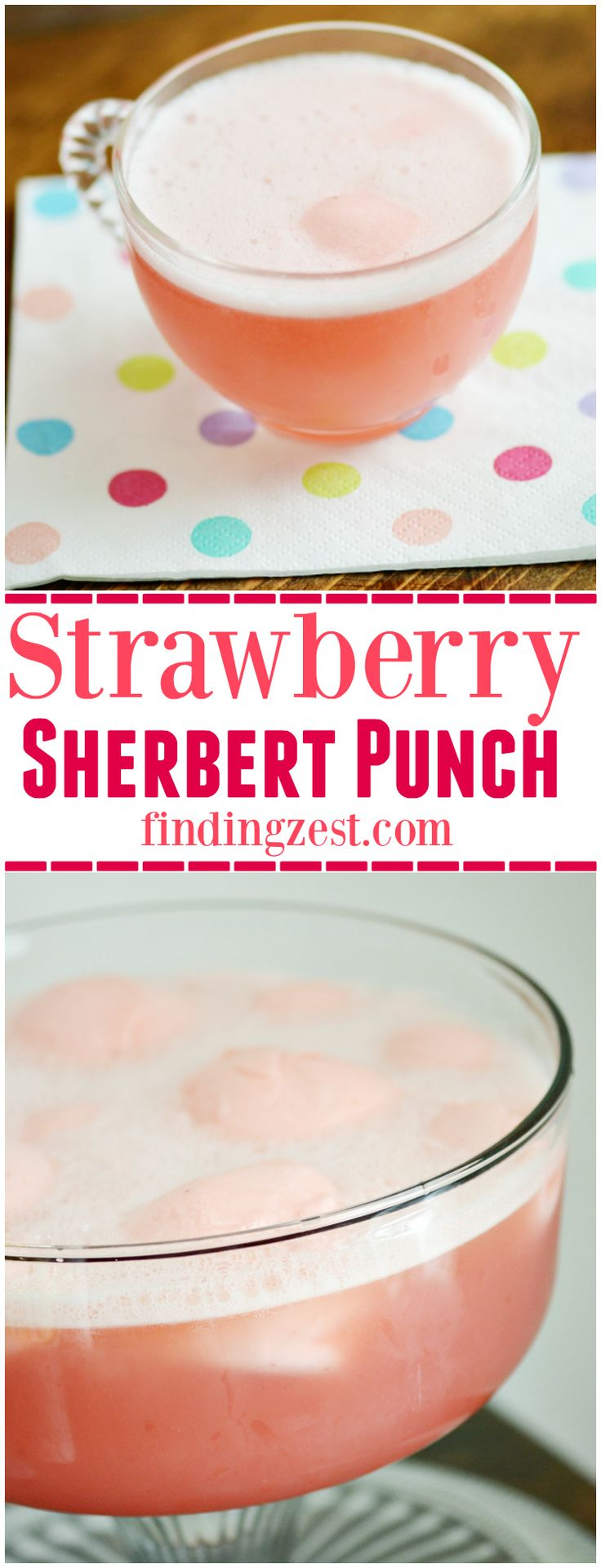 Sherbert party punch is always a crowd favorite and is super easy to make. Try this pink Strawberry Sherbert Punch for your next celebration!
