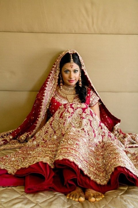 red Bridal lengha lehenga with white embroidery