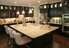 dark cabinets & light granite