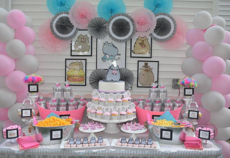 Pusheen the Cat theme by Melita..Created this candy/dessert buffet for my daughter Kaitlin's 8th birthday party..