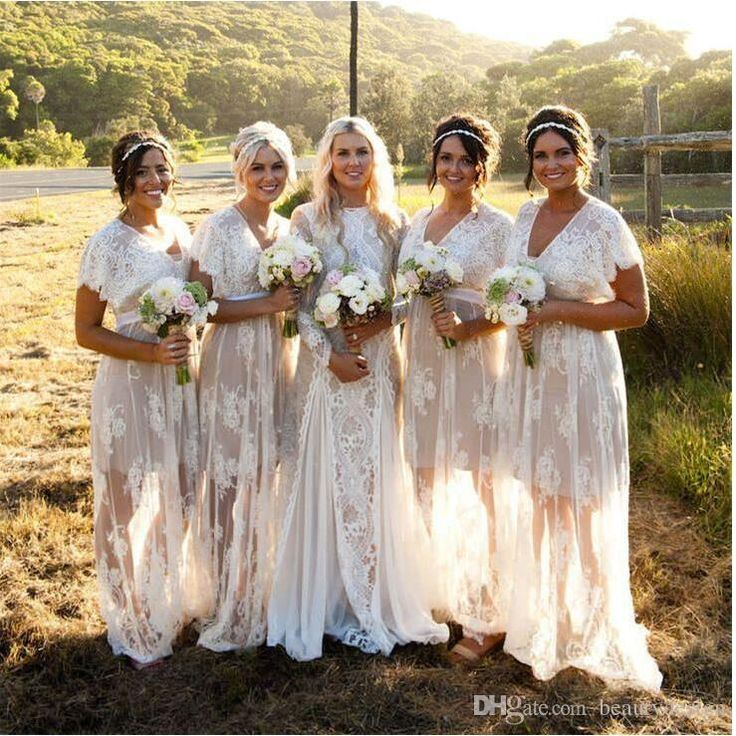 2016 Summer Bohemian Sheer Lace Bridesmaid Dresses V Neck Short Sleeves Plus Size Boho Wedding Dresses Custom Made Bridesmaids Gowns
